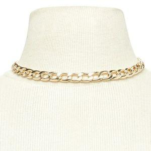 Gold Link Choker Women's Necklace
